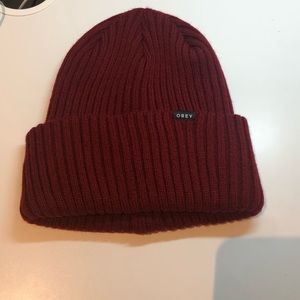 UO Obey ox blood red beanie